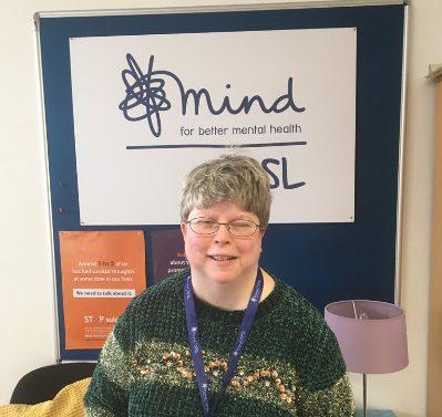 Rachel stood in from of the CPSL Mind logo