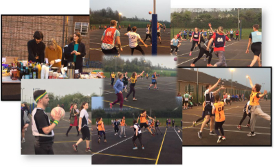A collection of photographs of a netball game