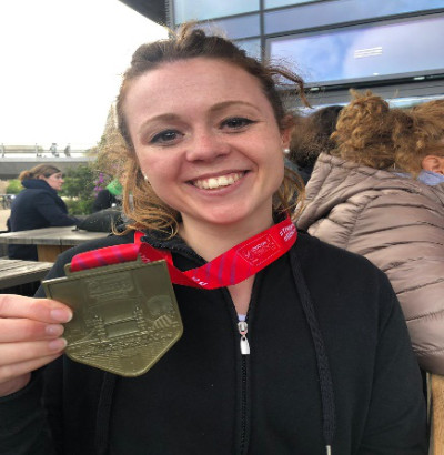 Abigail Chiswell-White with her London Marathon medal