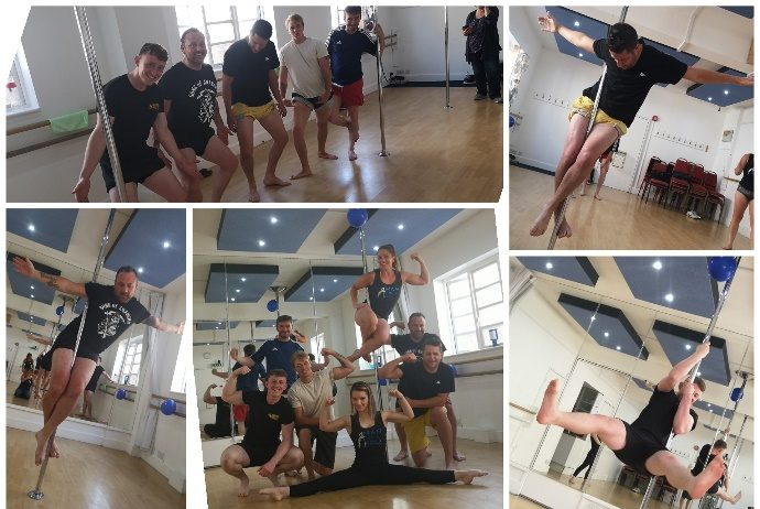 A collection of images of people pole dancing
